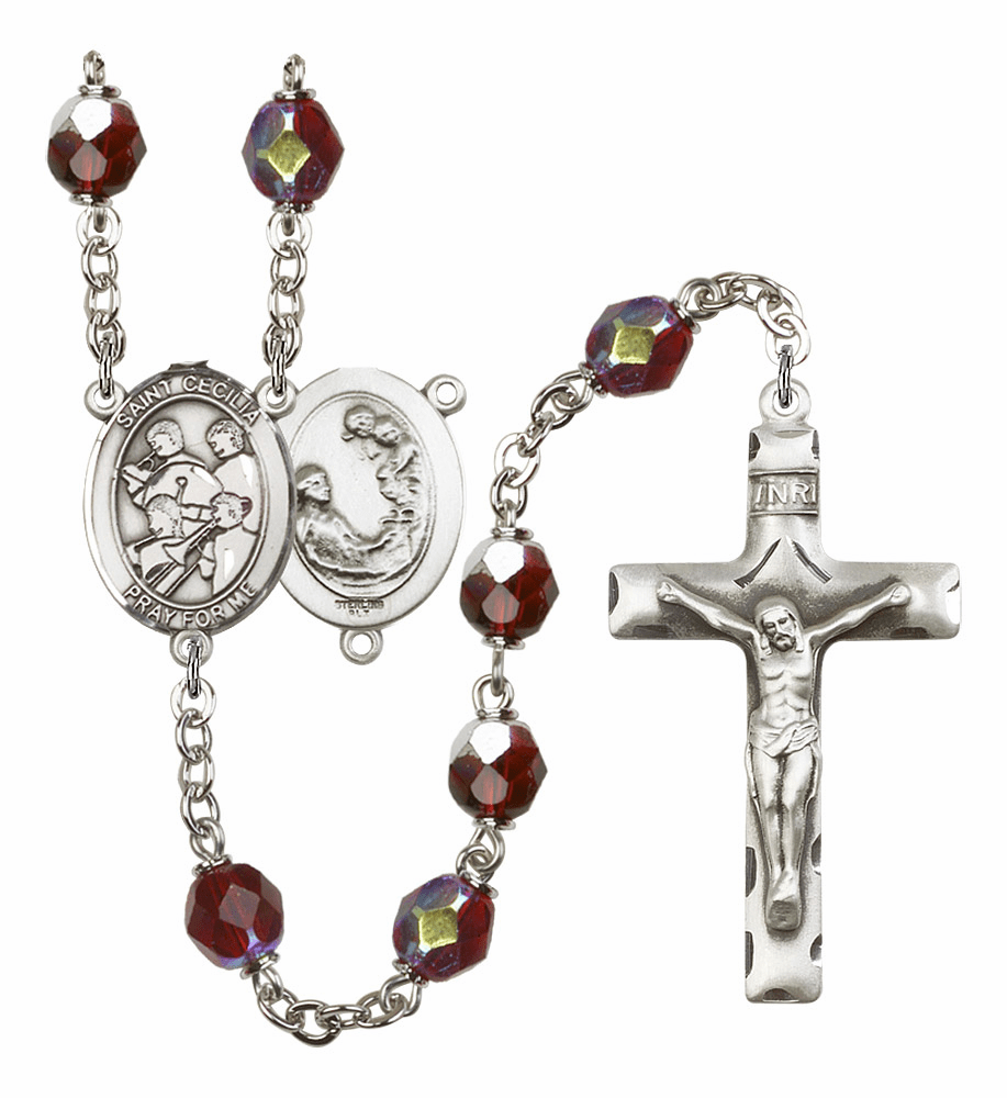 St Cecilia Marching Band 7mm Lock Link Aurora Borealis Garnet Rosary by Bliss Mfg