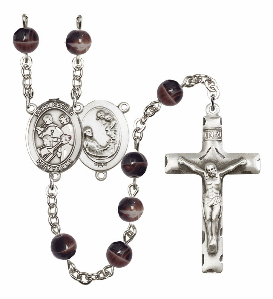 St Cecilia Marching Band Silver Plate 7mm Brown Gemstone Prayer Rosary by Bliss