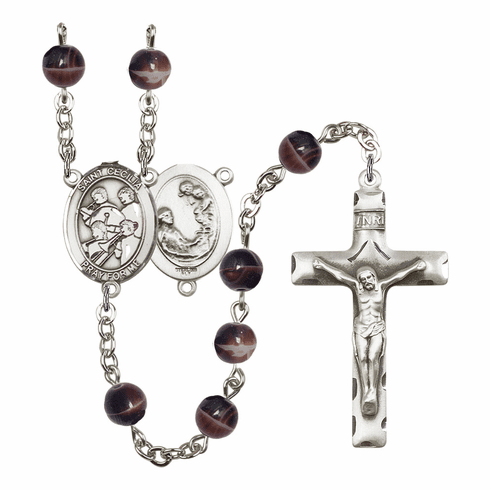 St Cecilia Marching Band 7mm Brown Gemstone Rosary by Bliss