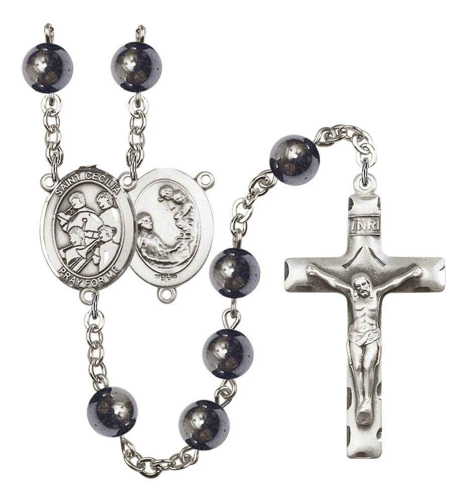 St Cecilia Marching Band Silver Plate 8mm Hematite Gemstone Prayer Rosary by Bliss