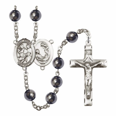 St Cecilia Marching Band 8mm Hematite Gemstone Rosary by Bliss