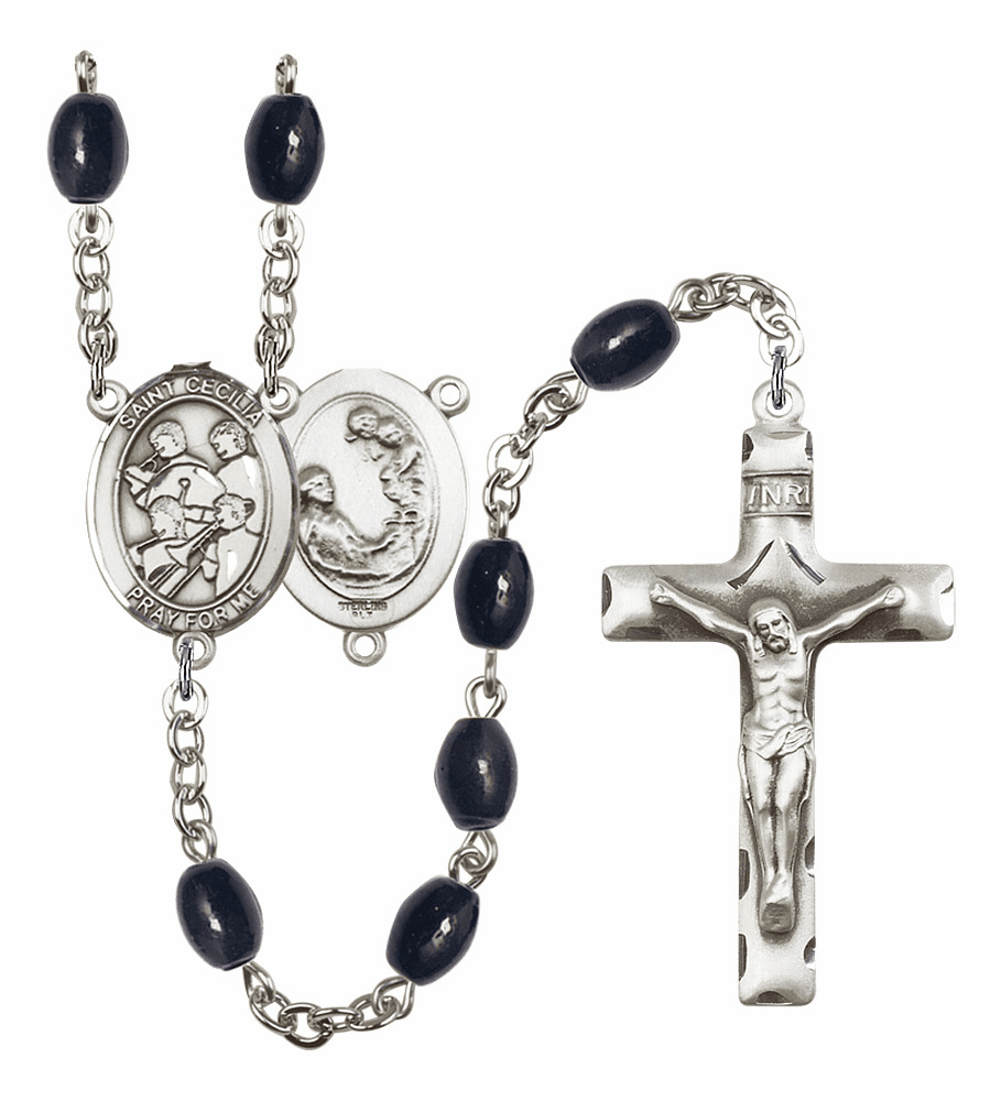 St Cecilia Marching Band Silver Plate 8x6mm Black Onyx Gemstone Prayer Rosary by Bliss