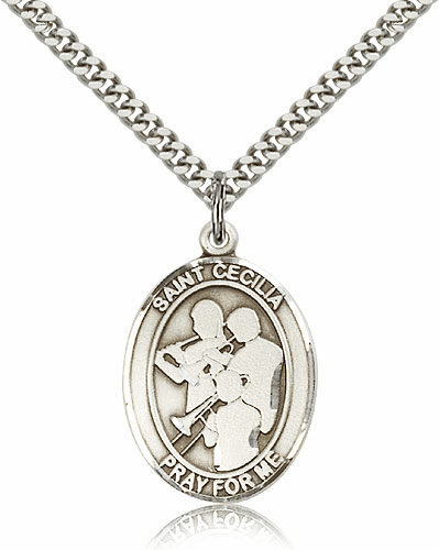 St Cecilia Marching Band Sterling Silver Saint Medal Necklace by Bliss