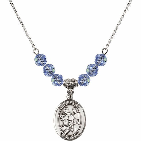 St Cecilia Marching Band Swarovski Crystal Beaded Patron Saint Necklace by Bliss Mfg