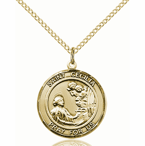 St Cecilia Medium Patron Saint 14kt Gold-filled Medal by Bliss