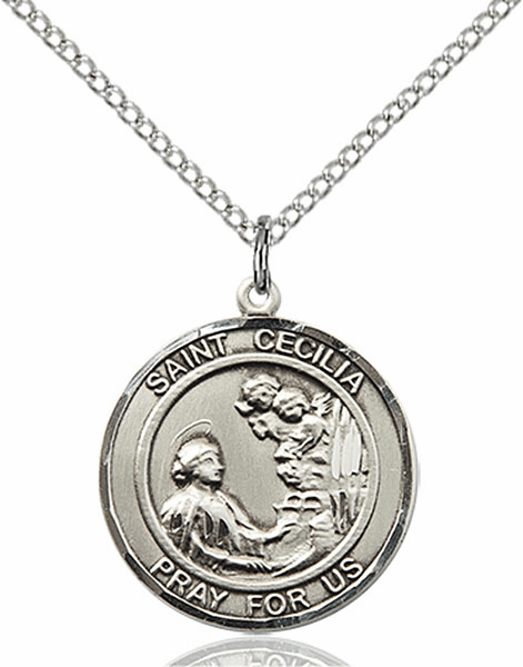 St Cecilia Medium Patron Saint Pewter Medal by Bliss