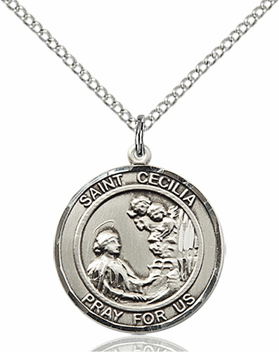 St Cecilia Medium Patron Saint Silver-filled Medal by Bliss