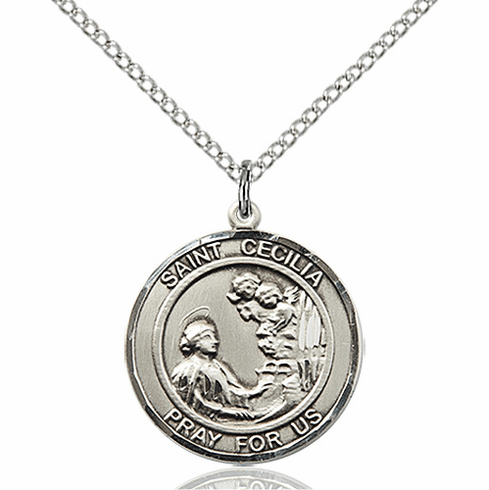 St Cecilia Medium Patron Saint Sterling Silver Medal by Bliss