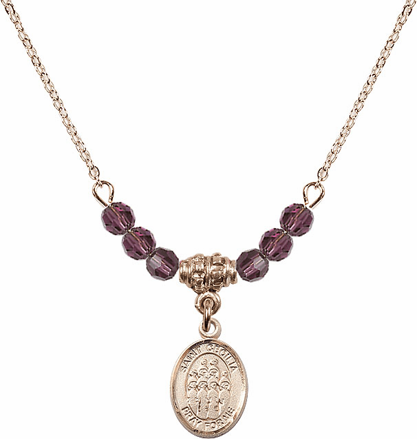St Cecilia Music Choir 4mm Swarovski Crystal February Amethyst Necklace by Bliss Mfg