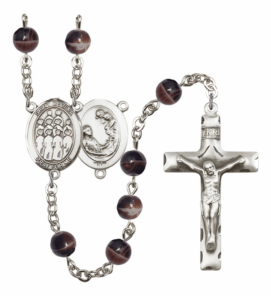 St Cecilia Music Choir Silver Plate 7mm Brown Gemstone Prayer Rosary by Bliss