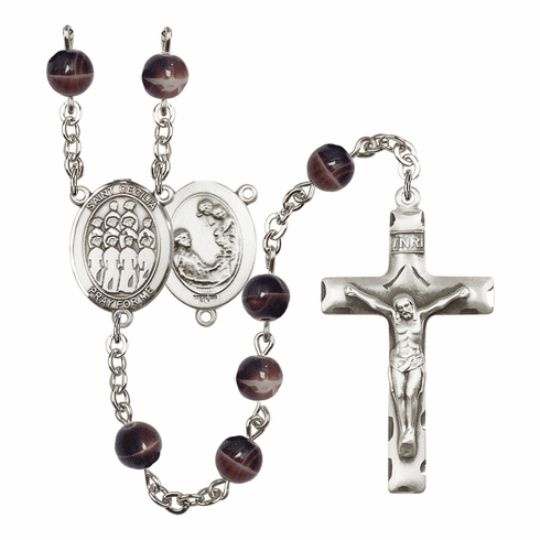 St Cecilia Music Choir 7mm Brown Gemstone Rosary by Bliss