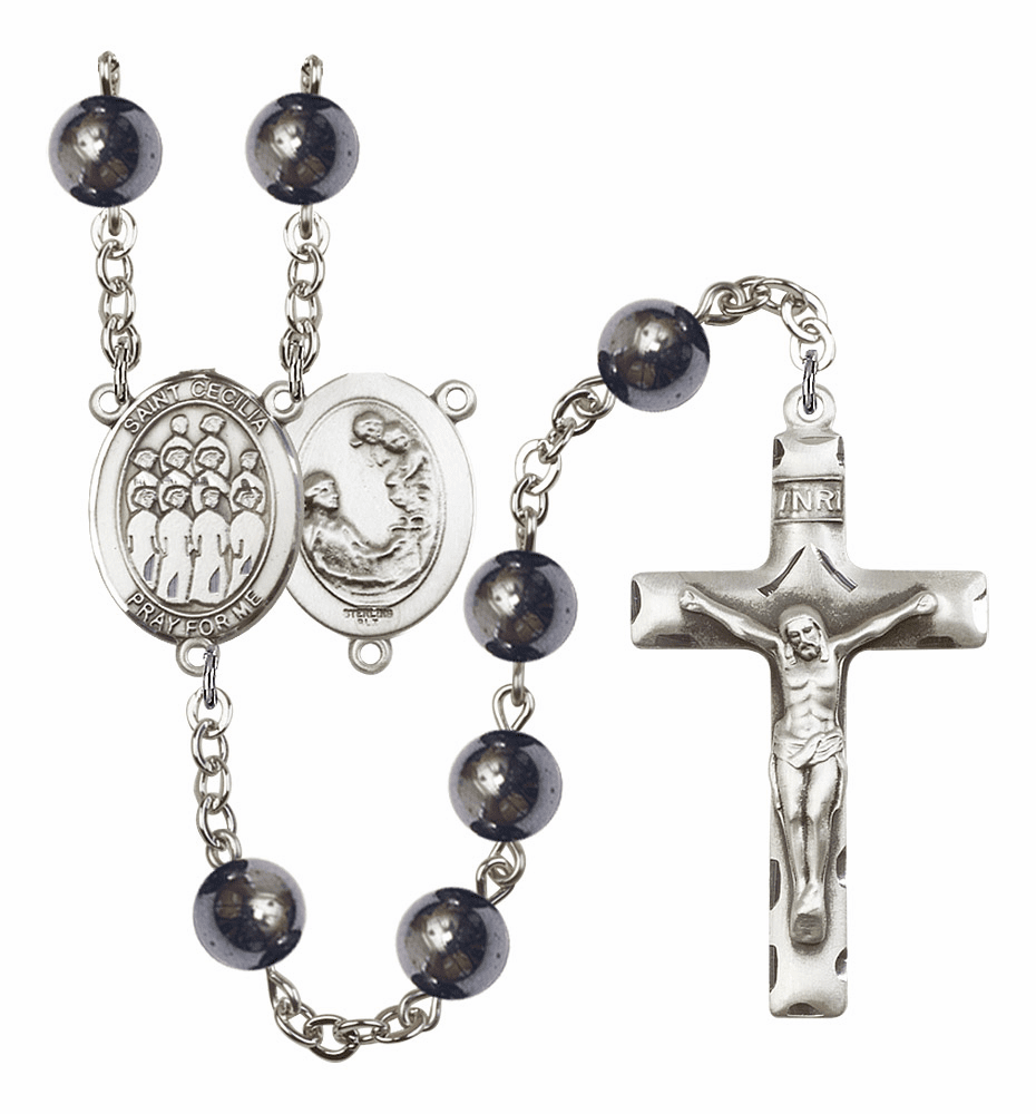 St Cecilia Music Choir 8mm Hematite Gemstone Rosary by Bliss