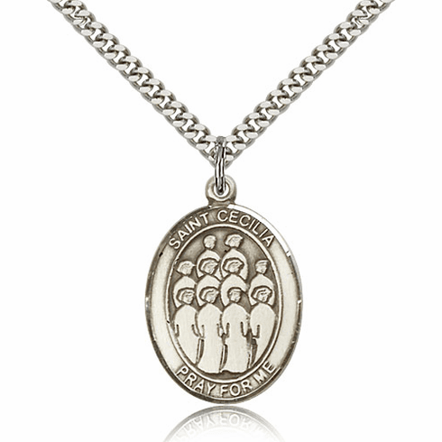 St Cecilia Music Choir Silver-filled Saint Medal Necklace by Bliss