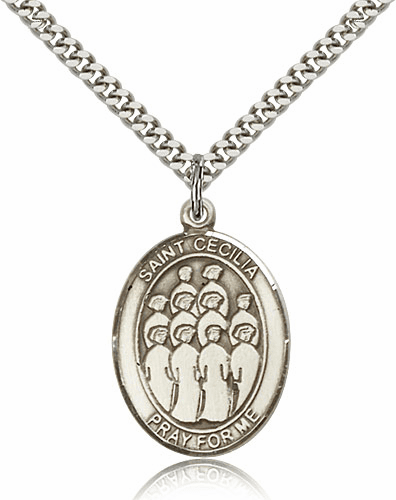 St Cecilia Music Choir Sterling Silver Saint Medal Necklace by Bliss