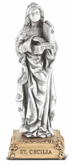 St Cecilia Patron Saint Pewter Statue on Gold Tone Base by Hirten