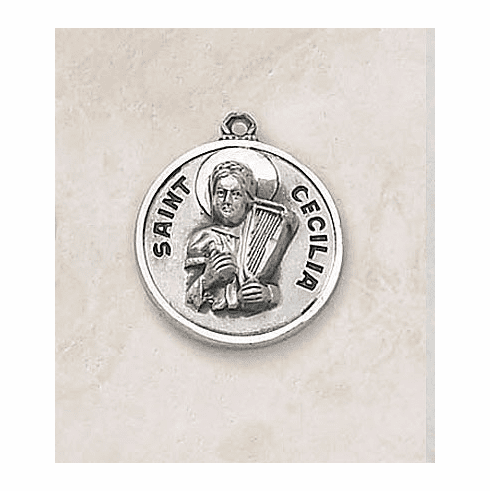 St Cecilia Patron Saint Sterling Silver Medal by Creed Jewelry