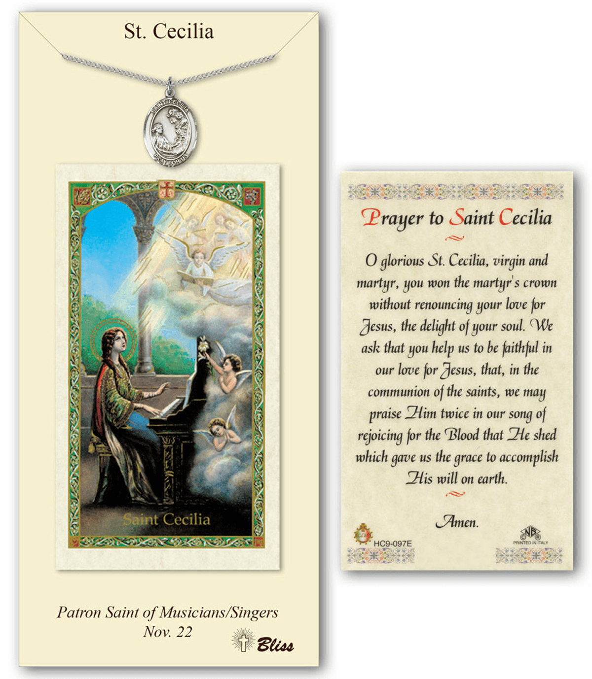Bliss St Cecilia Prayer Card & Pendant Gift Set