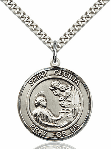 St Cecilia Round Patron Saint Medal Necklace by Bliss