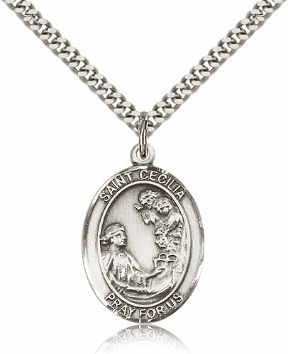 St Cecilia Sterling-Filled Patron Saint Medal Necklace by Bliss Manufacturing