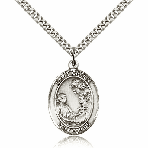 St Cecilia Sterling Silver Patron Saint Medal Necklace by Bliss
