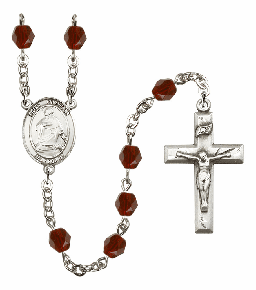 St Charles Borromeo Silver Plate Birthstone Crystal Prayer Rosary by Bliss
