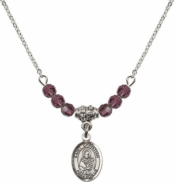 St Christian Demosthenes 4mm Swarovski Crystal February Amethyst Necklace by Bliss Mfg