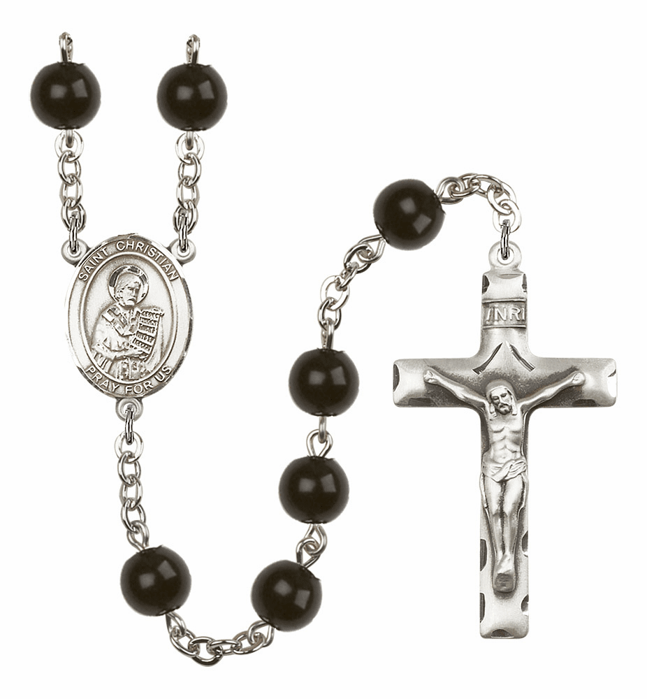 Bliss Mfg St Christian Demosthenes Silver 7mm Onyx Rosary