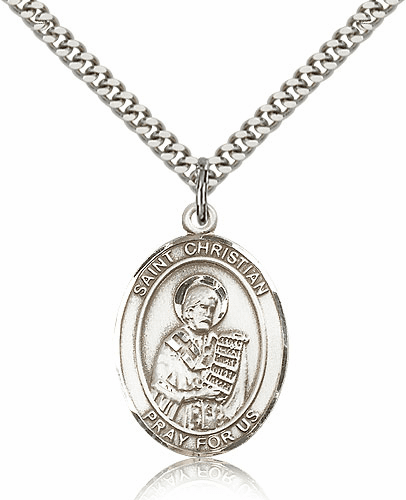 St Christian Demosthenes Sterling Silver Saint Medal Necklace by Bliss Manufacturing