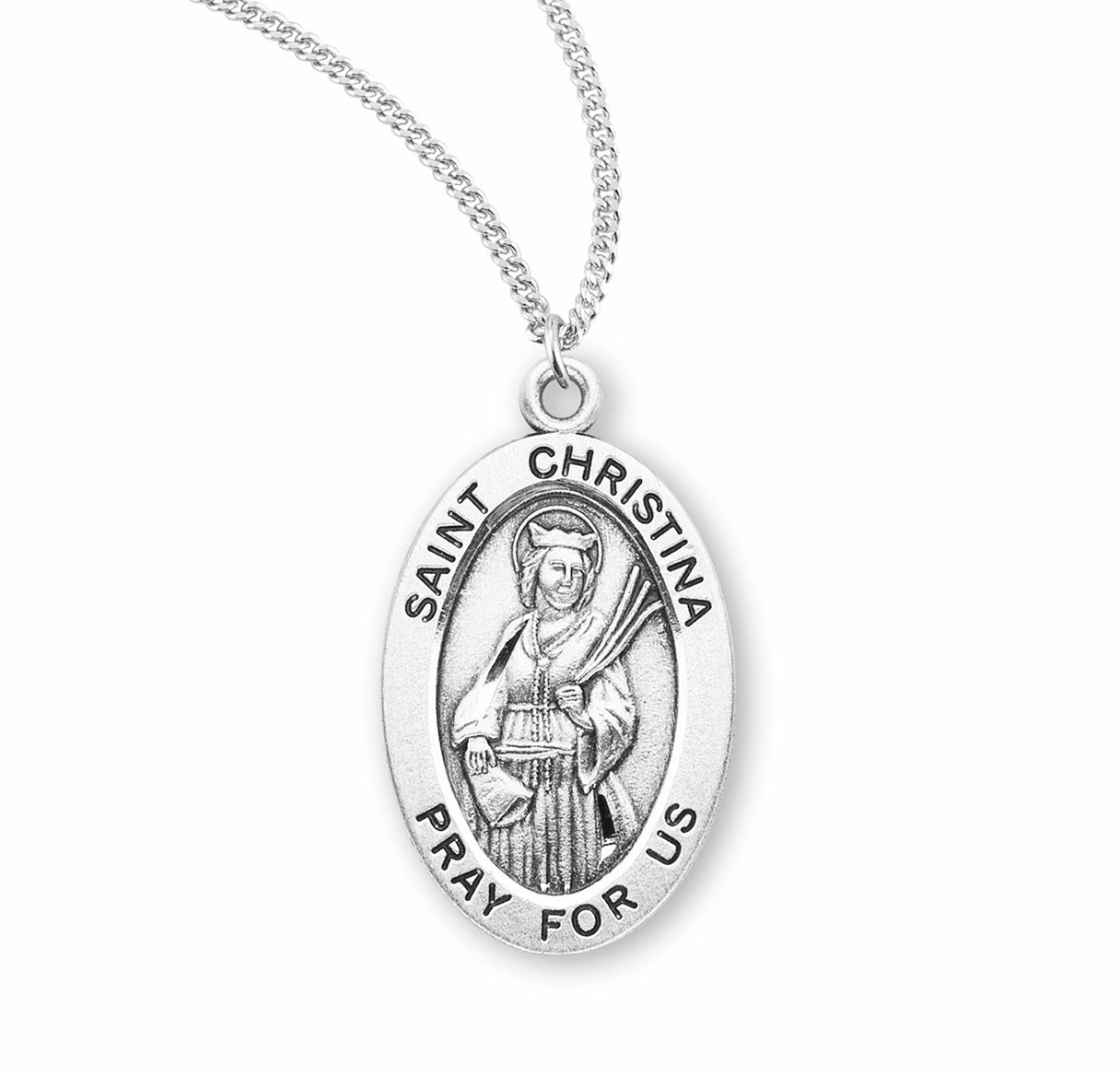 HMH Religious St Christina the Astonishing Catholic Saint Sterling Silver Medal Necklace