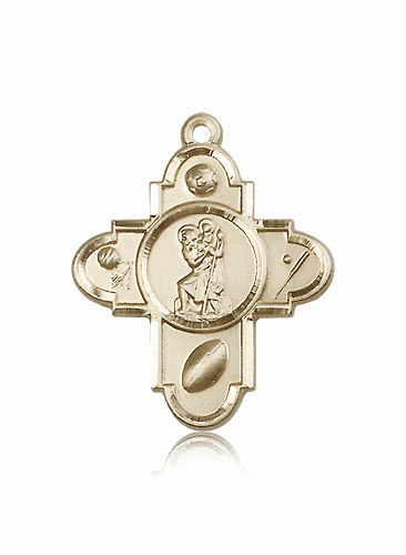 St. Christopher 14kt Gold 5 Way Sports Cross Medal Pendant by Bliss