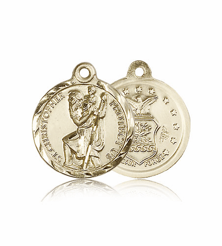 St. Christopher 14kt Gold Air Force Saint Medal by Bliss