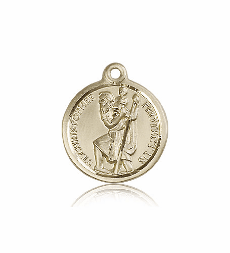 St Christopher 14kt Gold Patron Saint Medal by Bliss