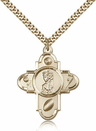 St. Christopher 5 Way Cross Gold Filled Medal Necklace by Bliss