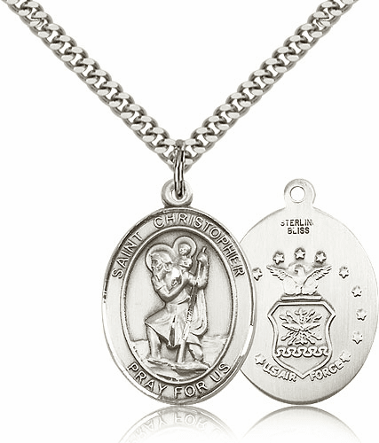St Christopher Air Force Sterling Oval Saint Pendant Medal by Bliss