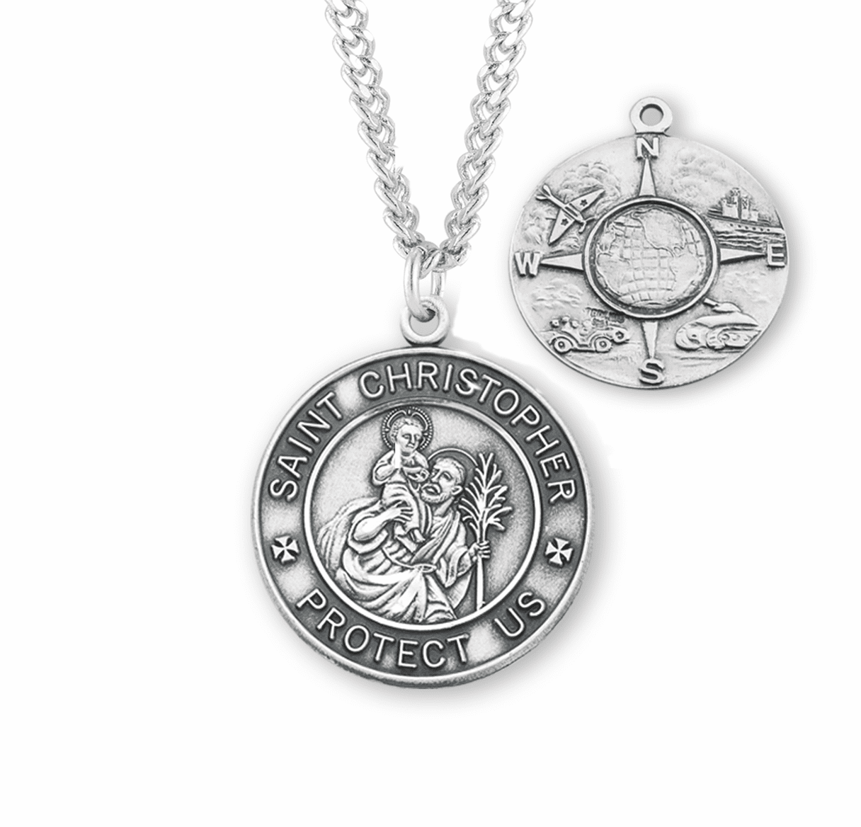 HMH Religious St Christopher Air, Land & Sea Military Sterling Silver Medal