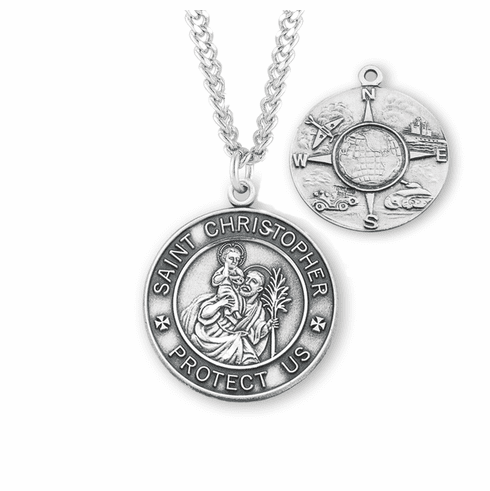 St Christopher Air, Land & Sea Military Sterling Silver Medal Necklace by HMH Religious
