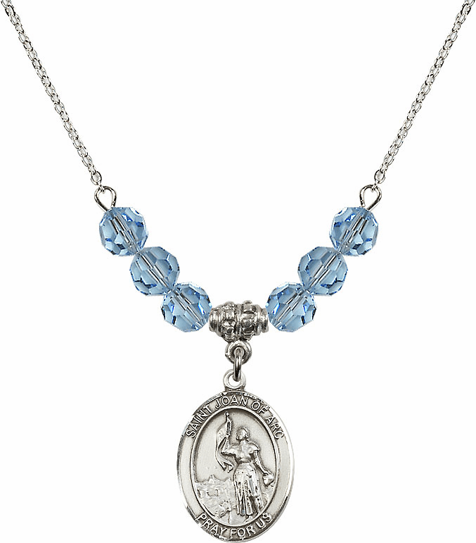 St Joan of Arc Aqua Swarovski Necklace by Bliss Mfg