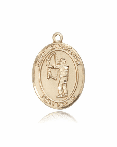 St Christopher Archery 14kt Gold Sports Medal Pendant by Bliss