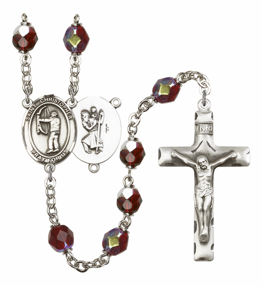 St Christopher Archery 7mm Lock Link Aurora Borealis Garnet Rosary by Bliss Mfg