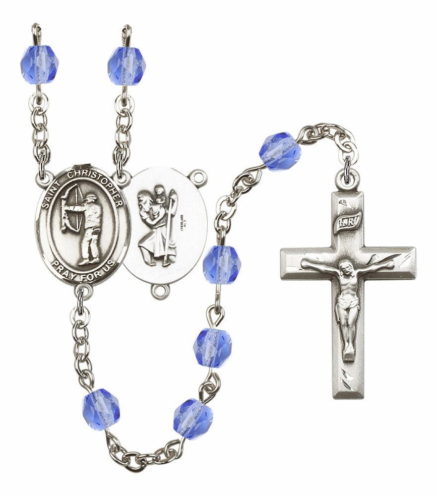 "Bliss St Christopher Archery Heart Crucifix Birthstone Fire Polished Crystal Prayer Rosary ""More Colors"""