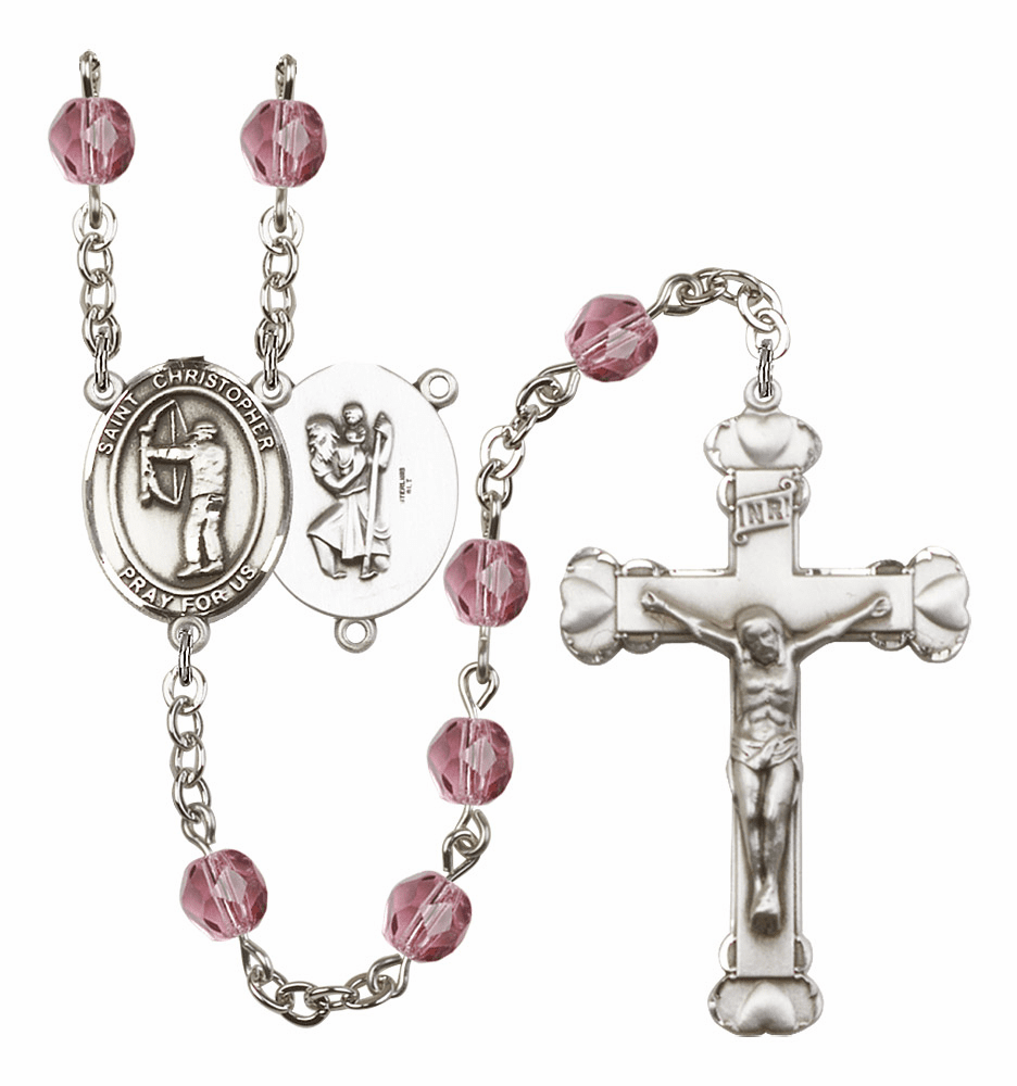 "Bliss St Christopher Archery Birthstone Fire Polished Crystal Prayer Rosary ""More Colors"""