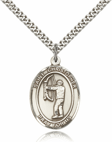St Christopher Archery Silver-Filled Patron Saint Medal by Bliss Manufacturing