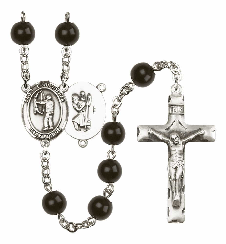 St Christopher Archery Silver Plate 7mm Black Onyx  Prayer Rosary by Bliss