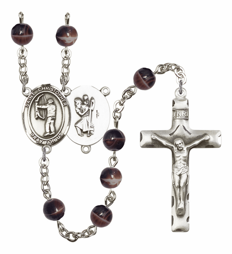St Christopher Archery Silver Plate 7mm Brown Gemstone Prayer Rosary by Bliss