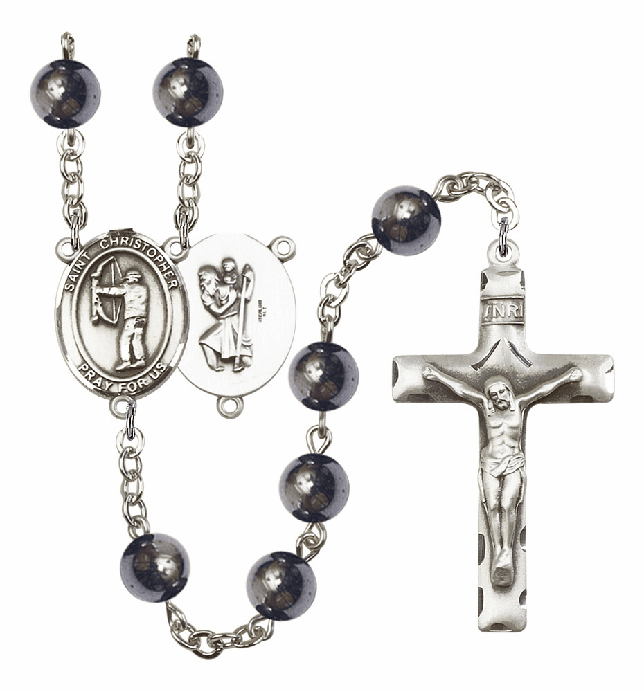 St Christopher Archery Silver Plate 8mm Hematite Gemstone Prayer Rosary by Bliss
