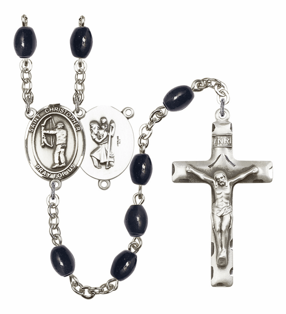 St Christopher Archery Silver Plate 8x6mm Black Onyx Gemstone Prayer Rosary by Bliss