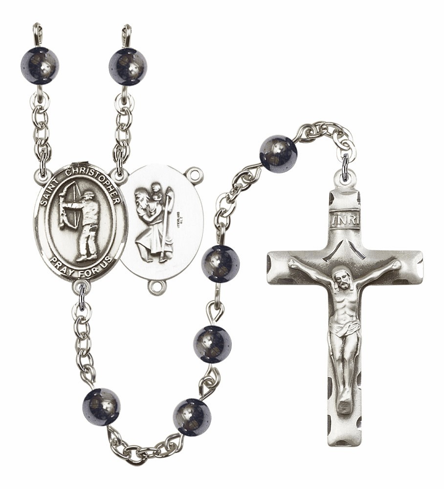 Bliss Mfg St Christopher Archery 6mm Hematite Gemstone Rosary