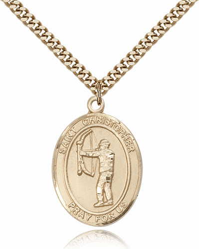 St Christopher Archery Sports 14kt Gold-Filled Pendant Necklace by Bliss