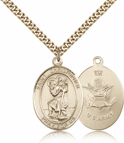 St Christopher Army Gold-Filled Oval Saint Pendant Medal by Bliss
