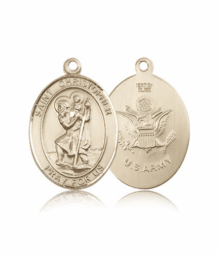St Christopher Army Oval 14kt Gold Saint Pendant Medal by Bliss